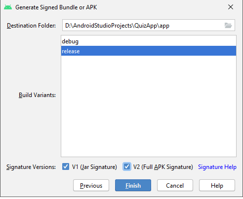 In this image you see the options when generating a signed bundle or APK