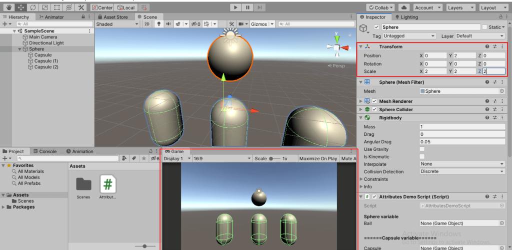 Sphere Scale Automatic change via script