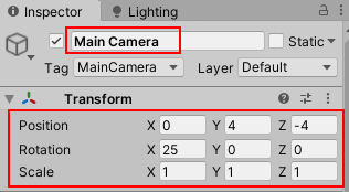 Main Camera Position & Rotation change