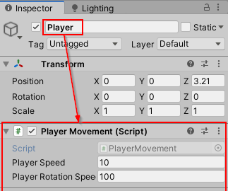 Assign Player Movement script to Player