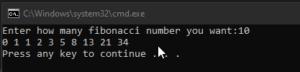 Fibonacci Code Output