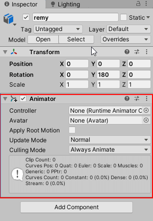 Add Animator Component in Character