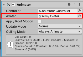 Add Avatar in Animator Component